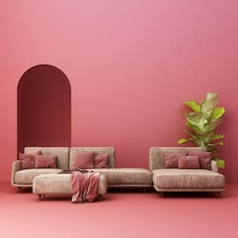 Sofa z różową ścianą łuku