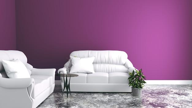 Sofy w salonie, różowe ściany. renderowania 3d