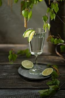 Sok brzozowy z plastrami limonki, młode gałęzie i kwitnące pąki brzozy. kuchnia rosyjska