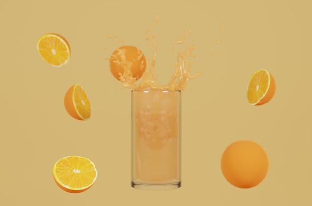 Sok pomarańczowy renderowania 3d