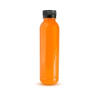 Sok pomarańczowy w pet bottle.isolated na białym tle.