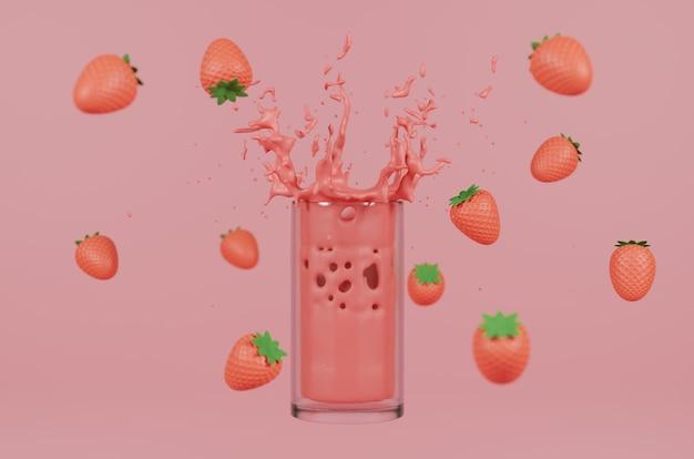 Sok truskawkowy renderowania 3d