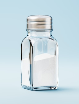 Sól w solniczce na niebieskim tle