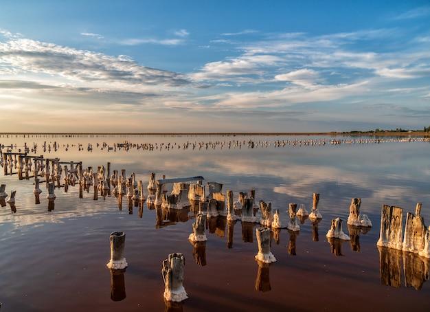 Solanka i sól. słone jezioro z drewnianymi kołkami. ekstrakcja soli. opuszczona fabryka.