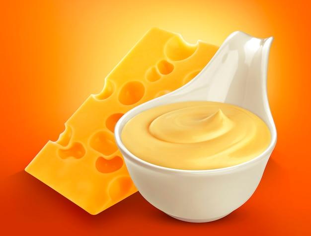 Sos serowy na białym tle