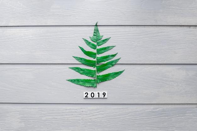 Sosna pomysłu pojęcie z 2019 nowy rok i wesoło bożymi narodzeniami na drewnianym tekstury tle.