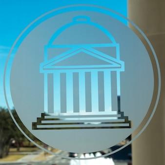 Southern methodist university symbol na szkle, dallas, texas, usa