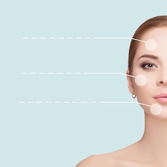 Spa portret młodej, pięknej i naturalnej kobiety z kropkowanymi strzałkami na twarzy na niebieskim tle. zbliżenie. medycyna i pielęgnacja skóry
