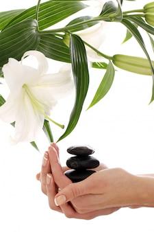 Spa ręce na białej ścianie