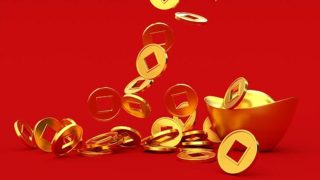 Spadające chińskie złote monety d