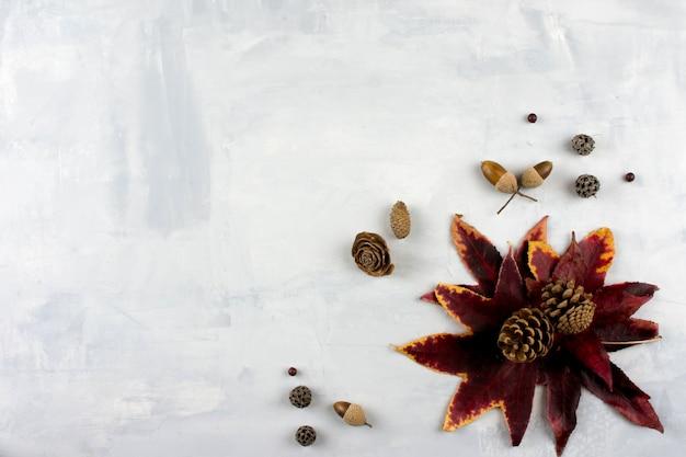 Spadające czerwone liści na szarym tle. trendy stylowa koncepcja