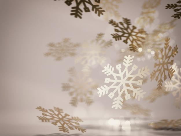 Spadające ozdoby złote płatki śniegu na boże narodzenie. renderowanie 3d