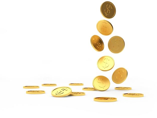 Spadające złote monety dolara