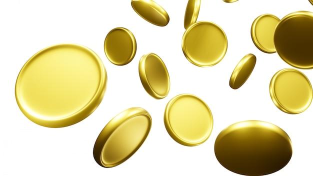 Spadające złote monety. renderowania 3d na białym tle