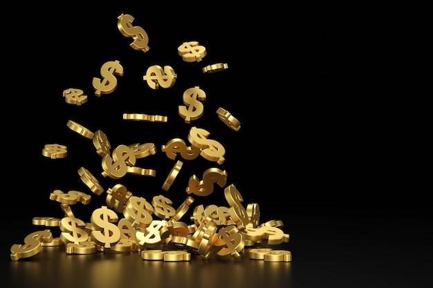 Spadający złoty znak dolara. renderowanie 3d.