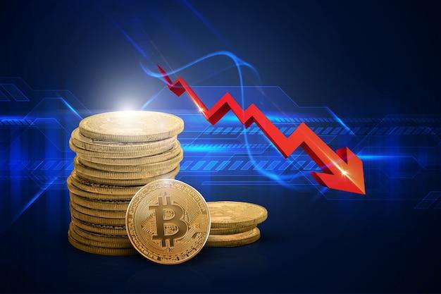 Spadek wartości bitcoina bitcoin z czerwoną strzałką w dół