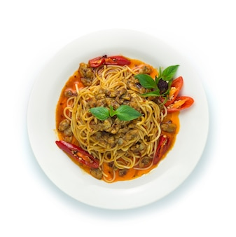 Spaghetti spicy chili paste with baby clams thai food style thai składnik