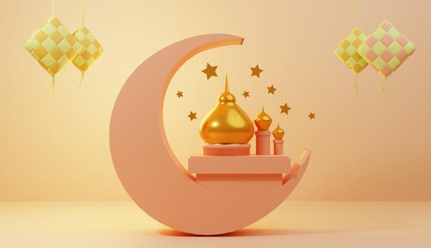 Specjalny Projekt Ilustracji 3d Na Ramadan I Eid Premium Zdjęcia