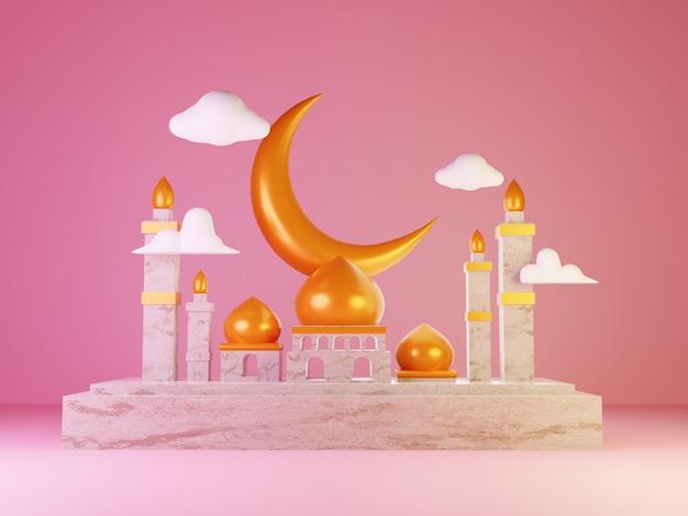 Specjalny projekt ilustracji 3d na ramadan i eid