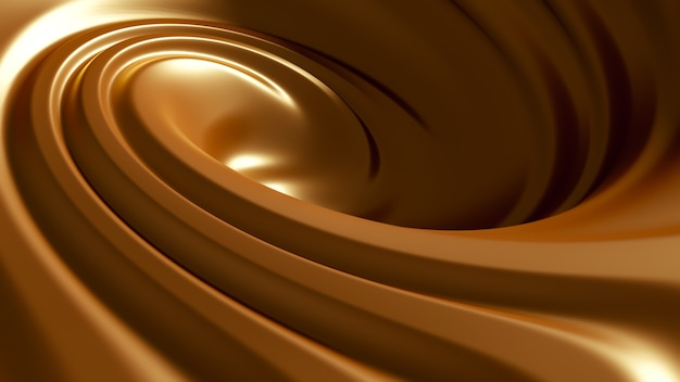 Spiral splash karmelowy. ilustracja, renderowanie 3d.