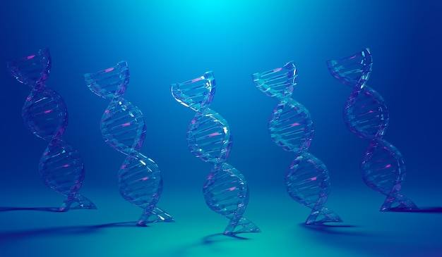 Spiralna struktura dna. nauki medyczne, biotechnologia genetyczna, chemia biologia, tło nauki, ilustracja 3d.