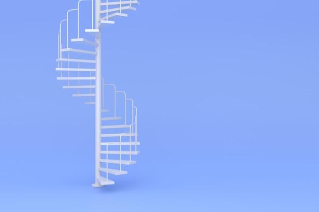 Spiralne schody z minimalnymi koncepcjami. tło 3d
