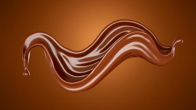 Splash brązowej czekolady.
