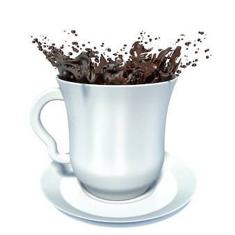 Splash brązowej gorącej czekolady w białej porcelanowej filiżance