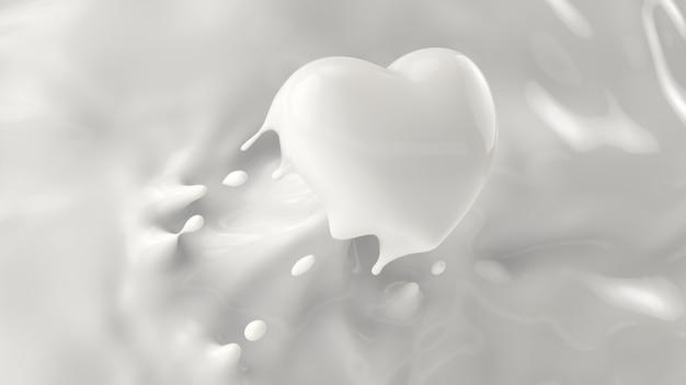 Splash mleka, rozpryskiwania w kształcie serca, na walentynki lub koncepcji miłości, renderowania 3d, ilustracji 3d.