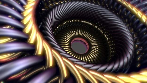 Splątany złoty i stalowy drut. zaplecze technologiczne ilustracja 3d ilustracji