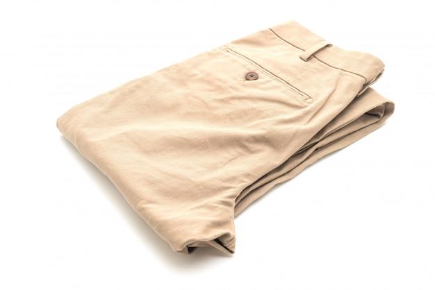 Spodnie biege na białym tle