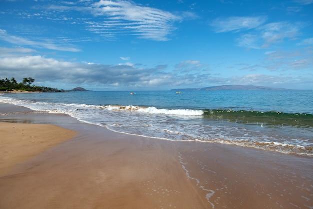 Spokój marzeń na brzegu. malowniczy widok na krajobraz plaży na hawajskiej wyspie maui.