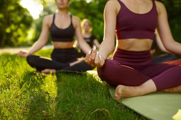 Spokojne kobiety relaksują się, grupowy trening jogi na trawie w parku
