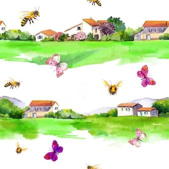 Spokojne wiejskie krajobrazy, wiejskie domy, zielona łąka, motyle, pszczoły miodne.