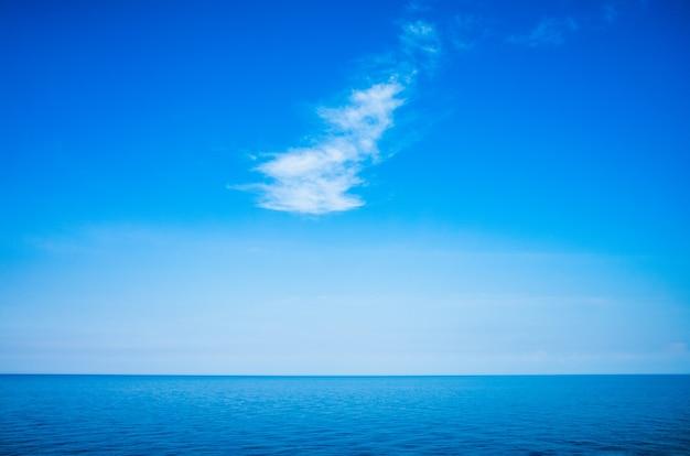 Spokojny minimalistyczny krajobraz z gładką, błękitną powierzchnią morza ze spokojnymi wodami i czystym niebem