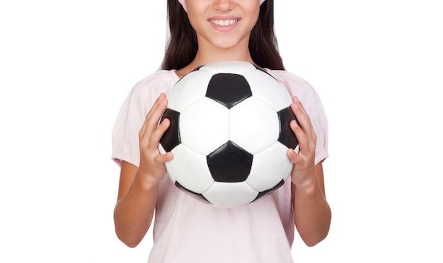 Sport dla dzieci. dziewczyna zaangażowana w sport. edukacja. pojedynczo na białym tle.