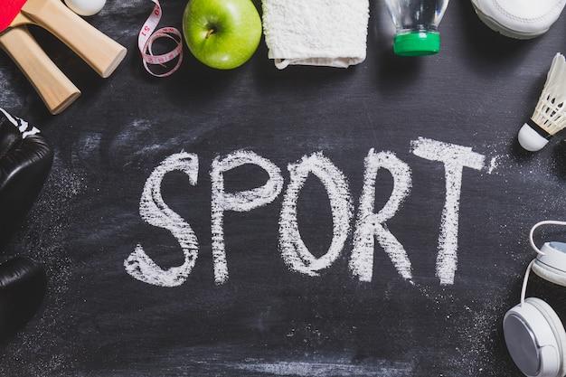 Sport tło z różnymi akcesoriami
