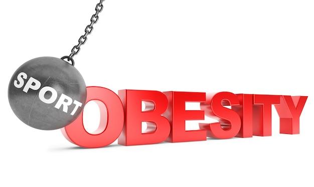 Sport zniszczyć koncepcję otyłości. kula do rozbijania jako sport ze znakiem otyłości na białym tle
