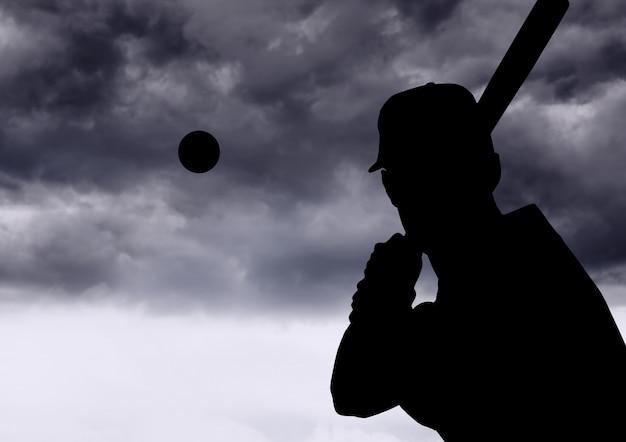 Sportowiec firma kij baseballowy copy space szary