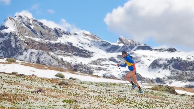 Sportowiec w górach pod górę z kijami