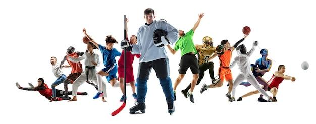 Sportowy kolaż profesjonalnych sportowców lub graczy na ulotce na białym tle