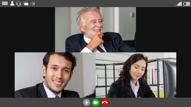 Spotkanie grupowe ludzi biznesu podczas wideokonferencji
