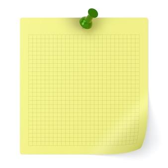 Sprawdzony papier firmowy i pinezka na białym tle - ilustracja 3d
