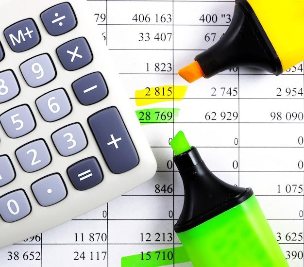 Sprawozdania finansowe z kalkulatorem, zakreślaczem