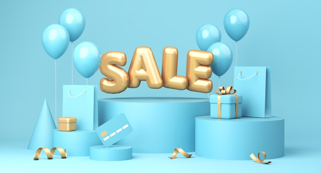 Sprzedam baner na niebieskim tle. wyprzedaż słowo, balony, karta kredytowa, torby na zakupy, pudełko prezentowe, elementy złotej wstążki leżące wokół. renderowanie 3d