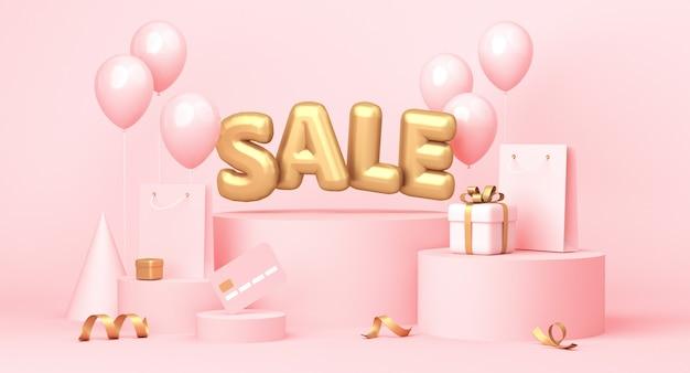 Sprzedam plakat ze słowem, balonami, prezentami i niektórymi elementami związanymi z zakupami na pastelowym różowym tle. renderowanie 3d