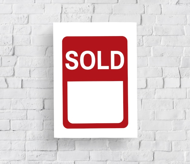 Sprzedany banner powiadomienia koncepcja sprzedaży