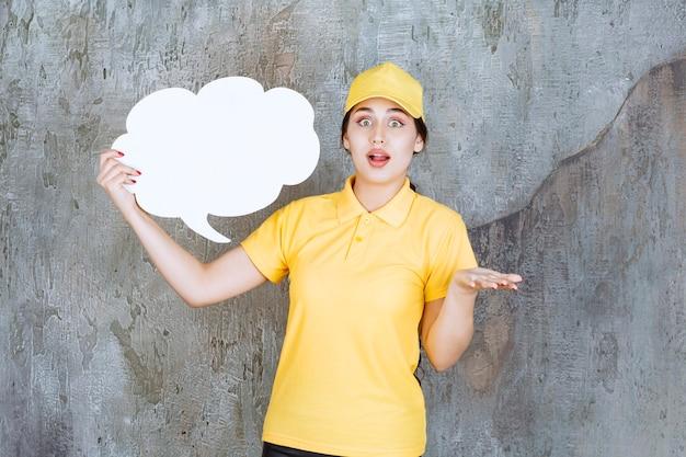 Sprzedawczyni w żółtym mundurze trzymająca tablicę informacyjną w kształcie chmury i wygląda na zdezorientowaną i przerażoną