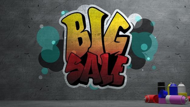 Sprzedaż graffiti na betonowej ścianie tekstury tło ściana kamienia.