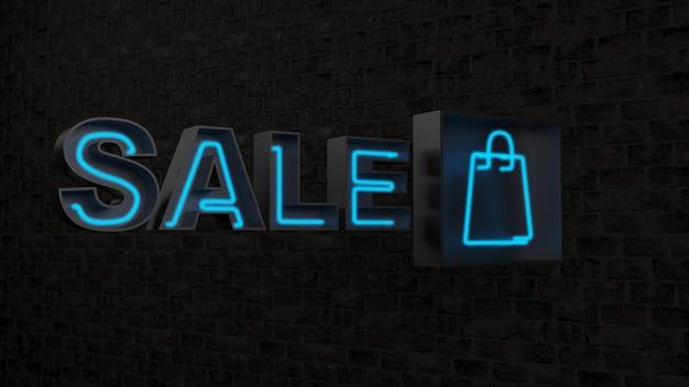 Sprzedaż niebieskie słowo na czarnej powierzchni